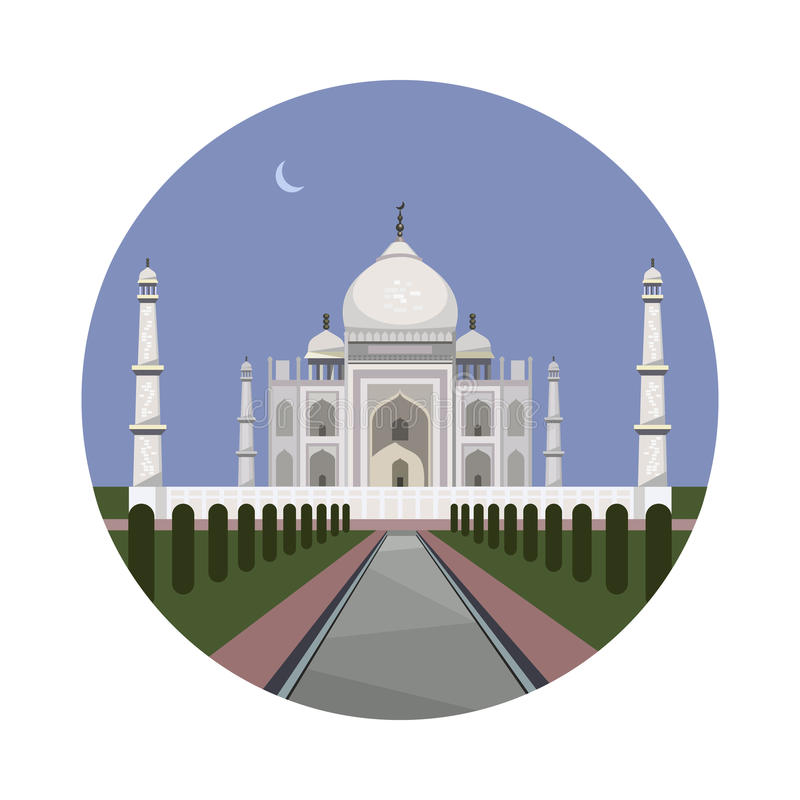 Ícone do palácio de Taj Mahal ilustração do vetor