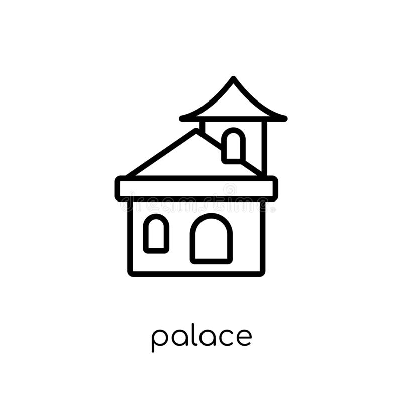 Ícone do palácio Ícone linear liso moderno na moda do palácio do vetor no whi ilustração royalty free