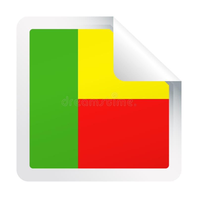 Ícone do papel do canto quadrado do vetor da bandeira de Benin ilustração stock