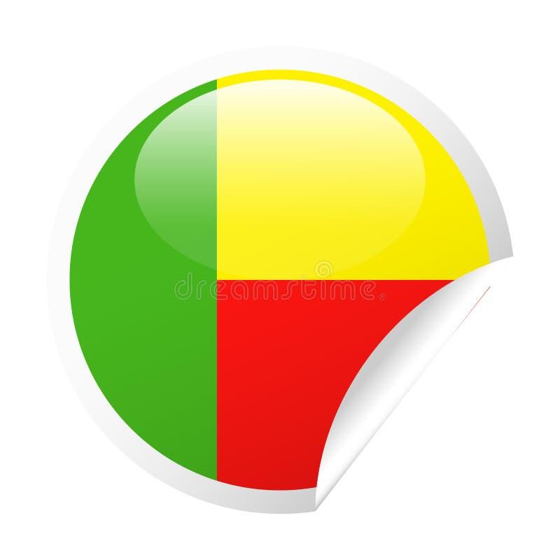 Ícone do papel do canto redondo do vetor da bandeira de Benin ilustração royalty free