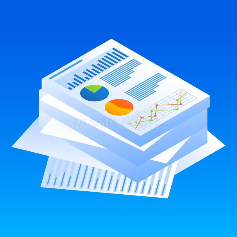 Ícone do papel de gráfico da finança, estilo isométrico ilustração do vetor