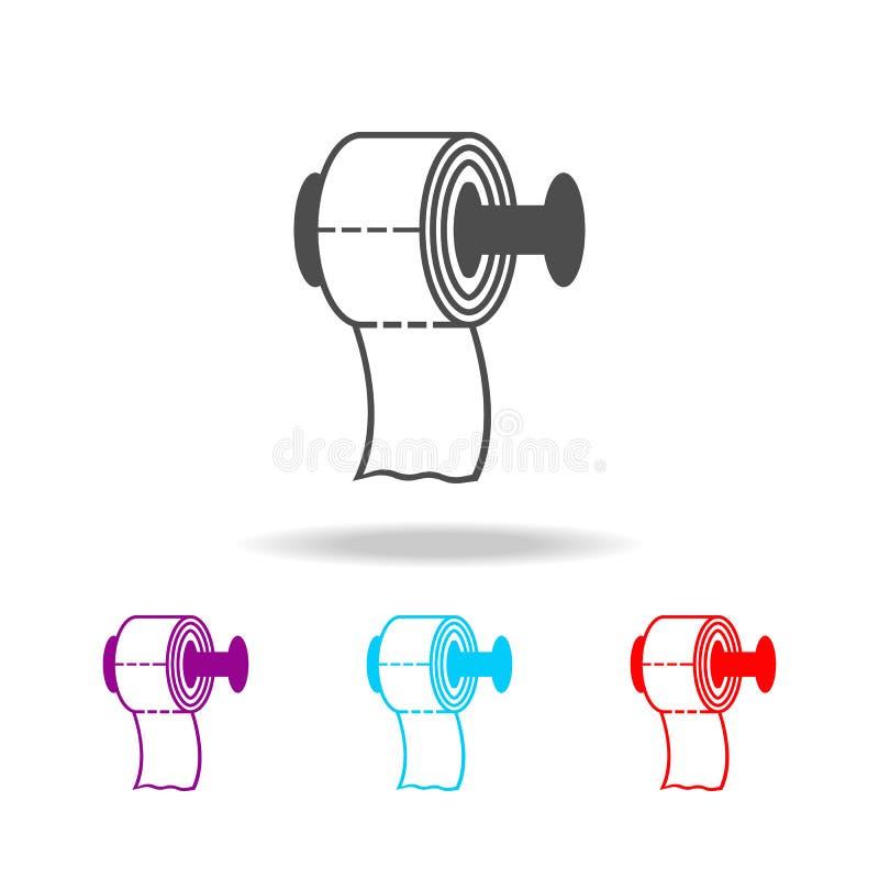 Ícone do papel higiênico Elementos do banheiro em multi ícones coloridos Ícone superior do projeto gráfico da qualidade Ícone sim ilustração royalty free
