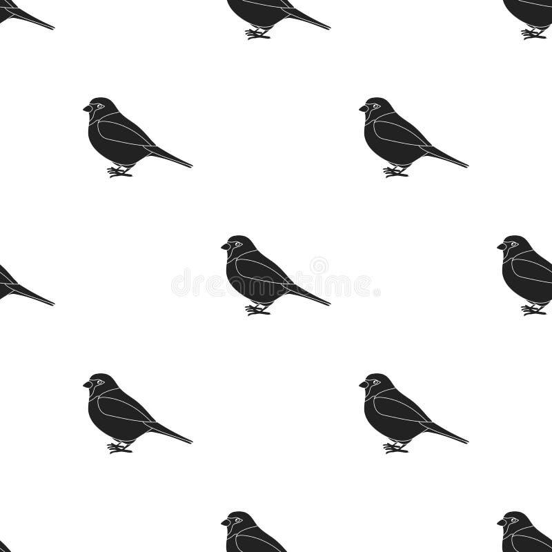 Ícone do pardal no estilo preto isolado no fundo branco Ilustração do vetor do estoque do teste padrão do pássaro ilustração royalty free