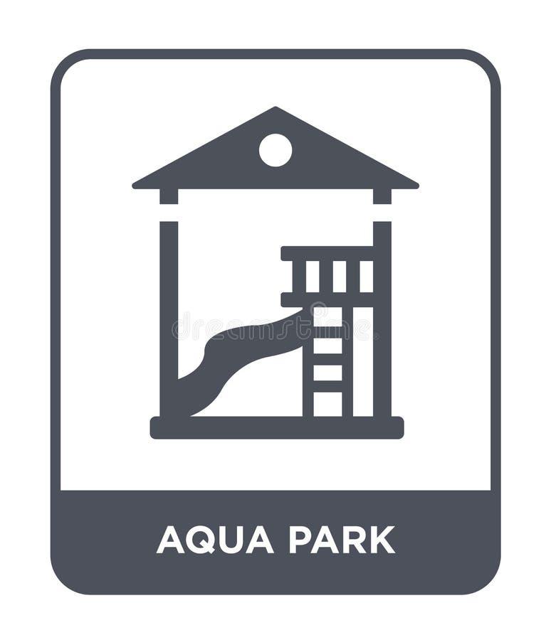 ícone do parque do aqua no estilo na moda do projeto ícone do parque do aqua isolado no fundo branco plano simples e moderno do í ilustração stock