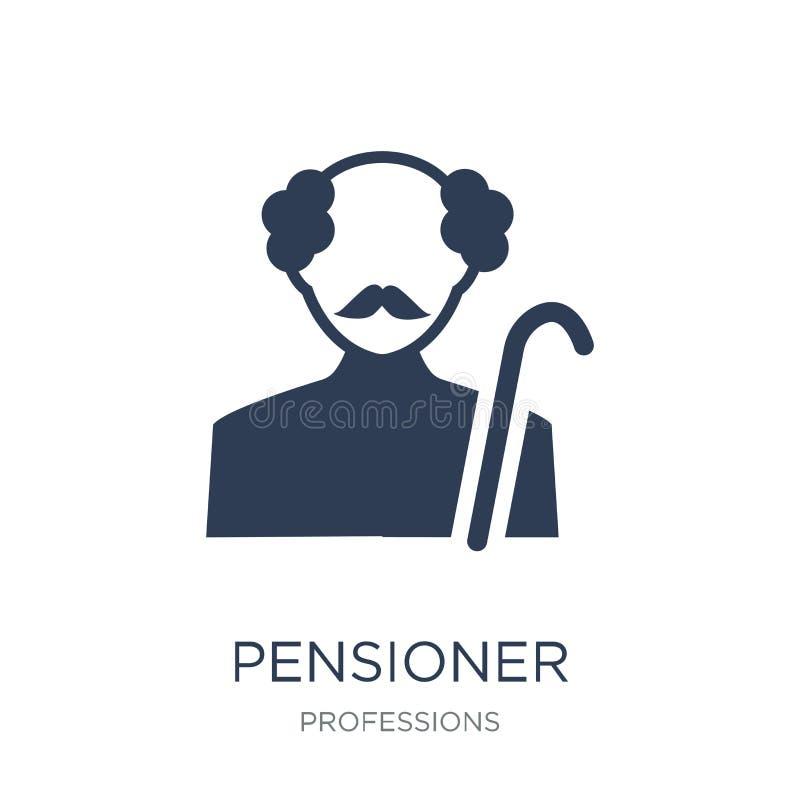 Ícone do pensionista Ícone liso na moda do pensionista do vetor no backg branco ilustração do vetor