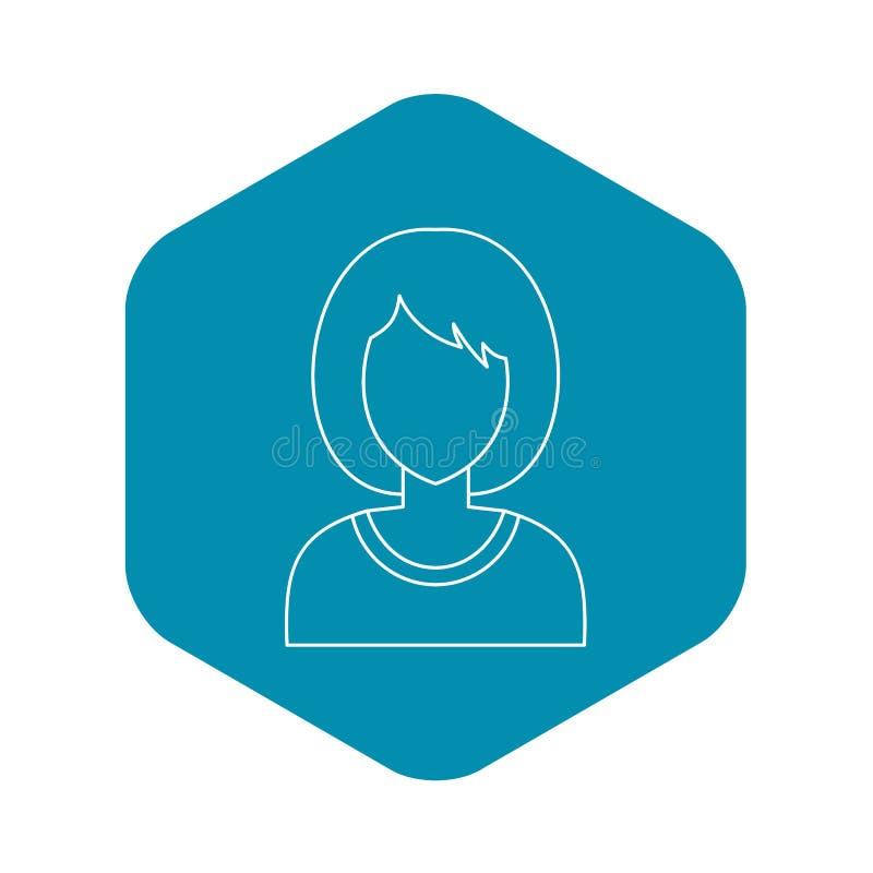 Ícone do perfil do avatar da mulher, estilo do esboço ilustração do vetor