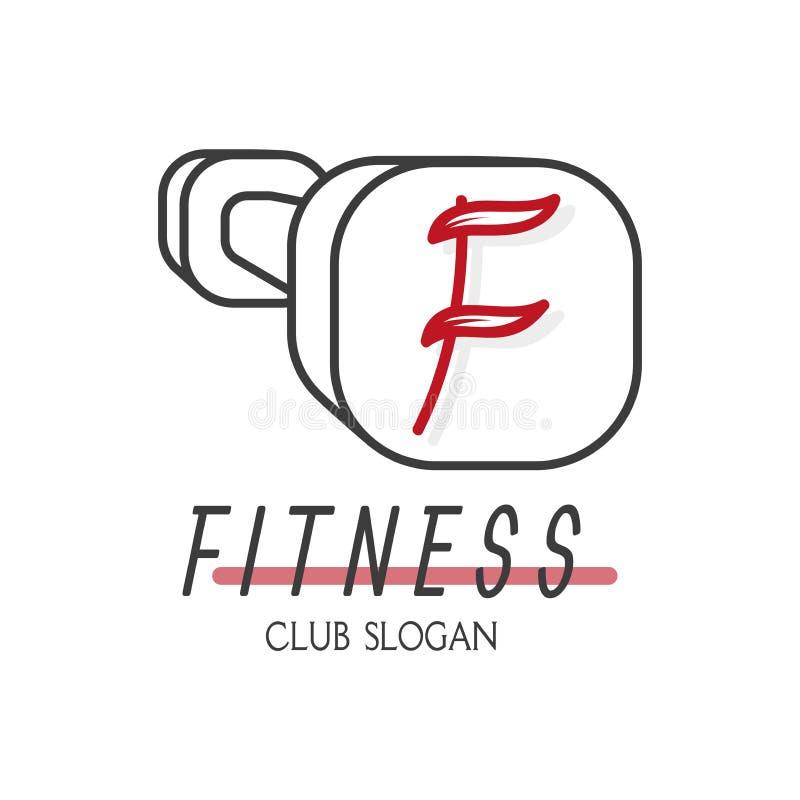 Ícone do peso dos esportes com símbolo vermelho F Emblema para a aptidão Vetor ilustração stock