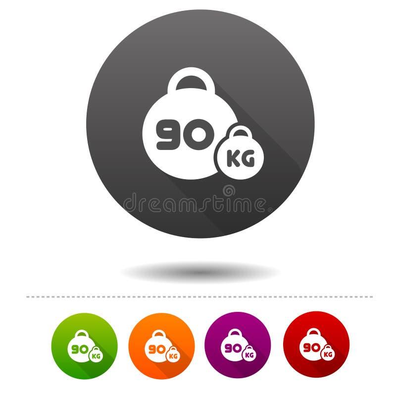 Ícone do peso sinal do símbolo de um esporte de 90 quilogramas Botão da Web ilustração stock