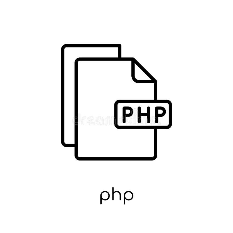 Ícone do PHP Ícone linear liso moderno na moda do PHP do vetor no CCB branco ilustração do vetor