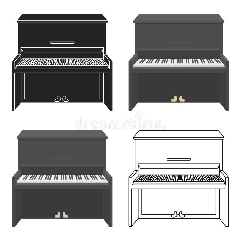 Ícone do piano no estilo dos desenhos animados no fundo branco Ilustração do vetor do estoque do símbolo dos instrumentos musicai ilustração stock