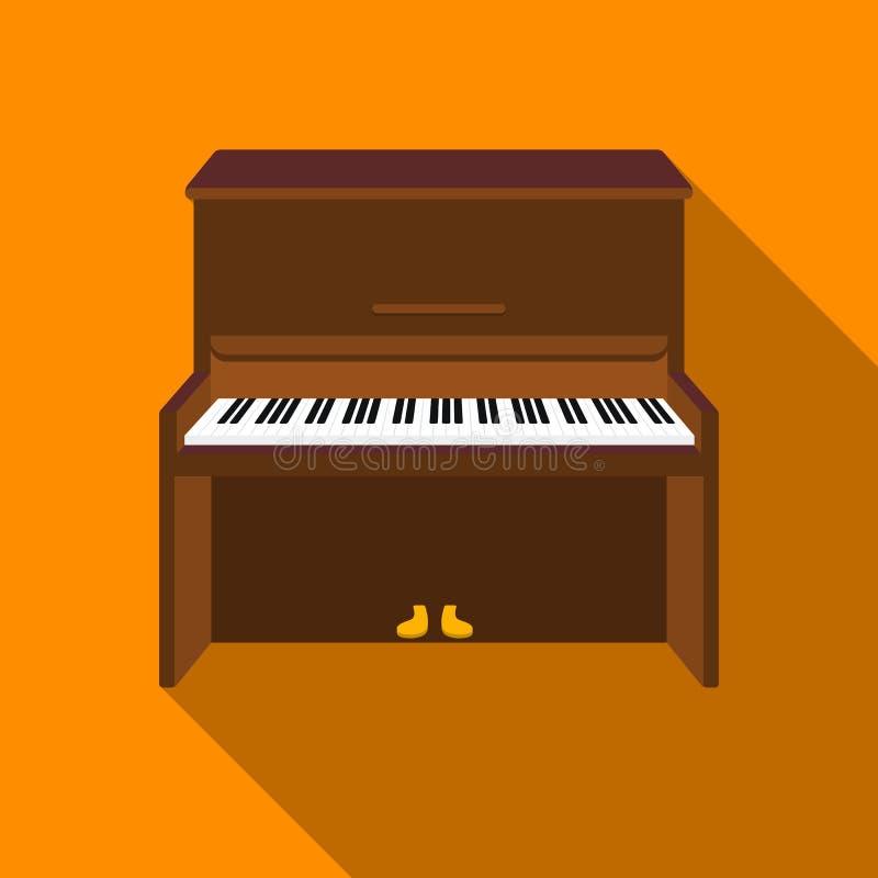 Ícone do piano no estilo liso isolado no fundo branco Ilustração do vetor do estoque do símbolo dos instrumentos musicais ilustração stock