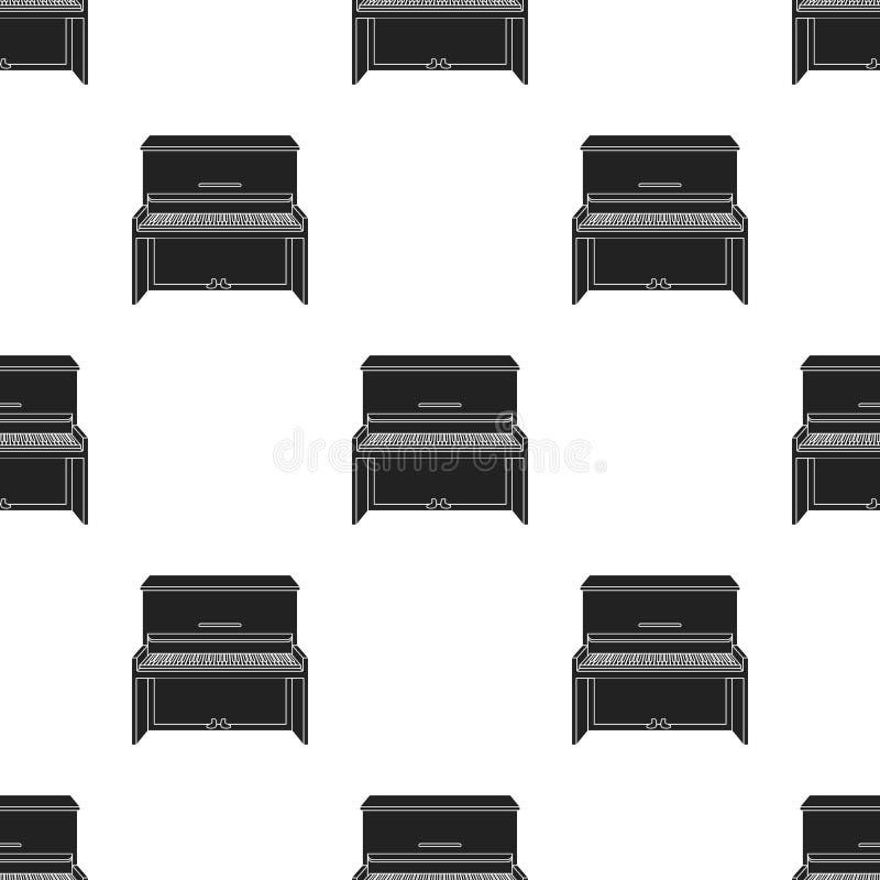 Ícone do piano no estilo preto isolado no fundo branco Ilustração do vetor do estoque do teste padrão dos instrumentos musicais ilustração do vetor