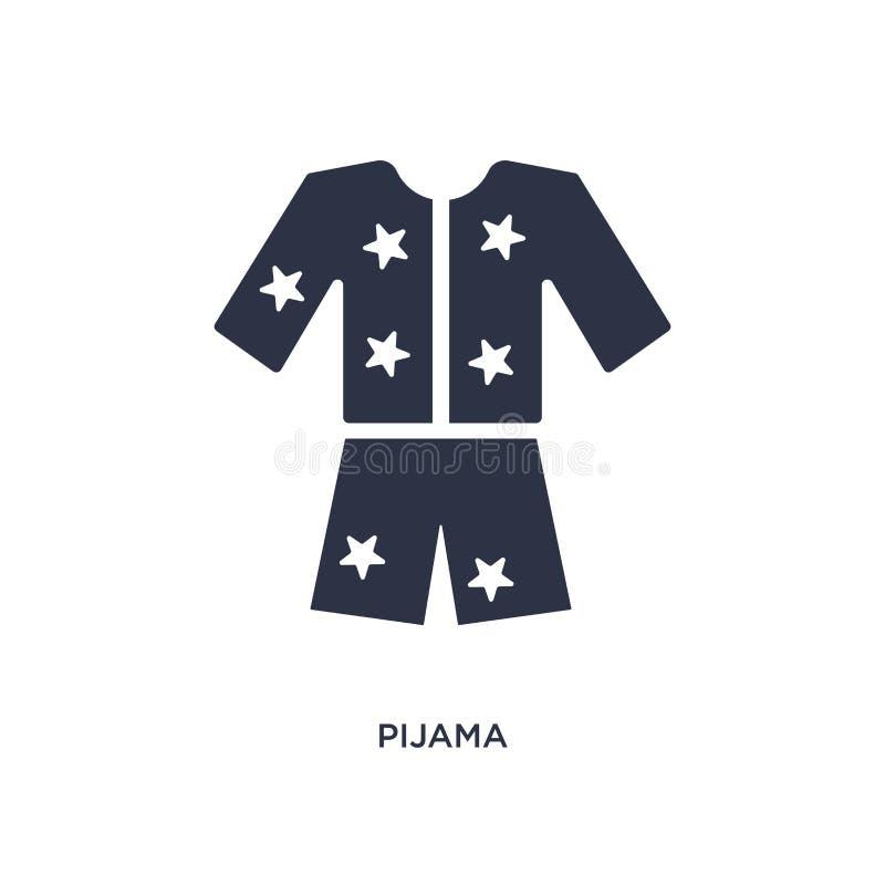 ícone do pijama no fundo branco Ilustração simples do elemento do conceito da roupa ilustração stock