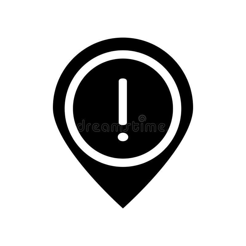 Ícone do Pin do sinal de aviso Conceito na moda do logotipo do Pin do sinal de aviso em w ilustração do vetor