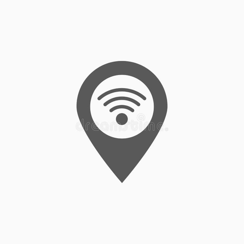 Ícone do pino de Wifi, Internet, lugar, rede ilustração royalty free