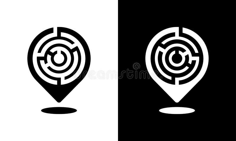 Ícone do pino do lugar com um teste padrão do labirinto fotografia de stock royalty free