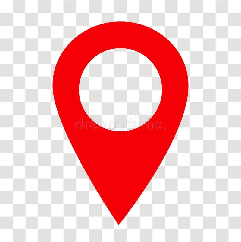 Ícone do pino do lugar em transparente sinal do pino do lugar Estilo liso fotografia de stock royalty free