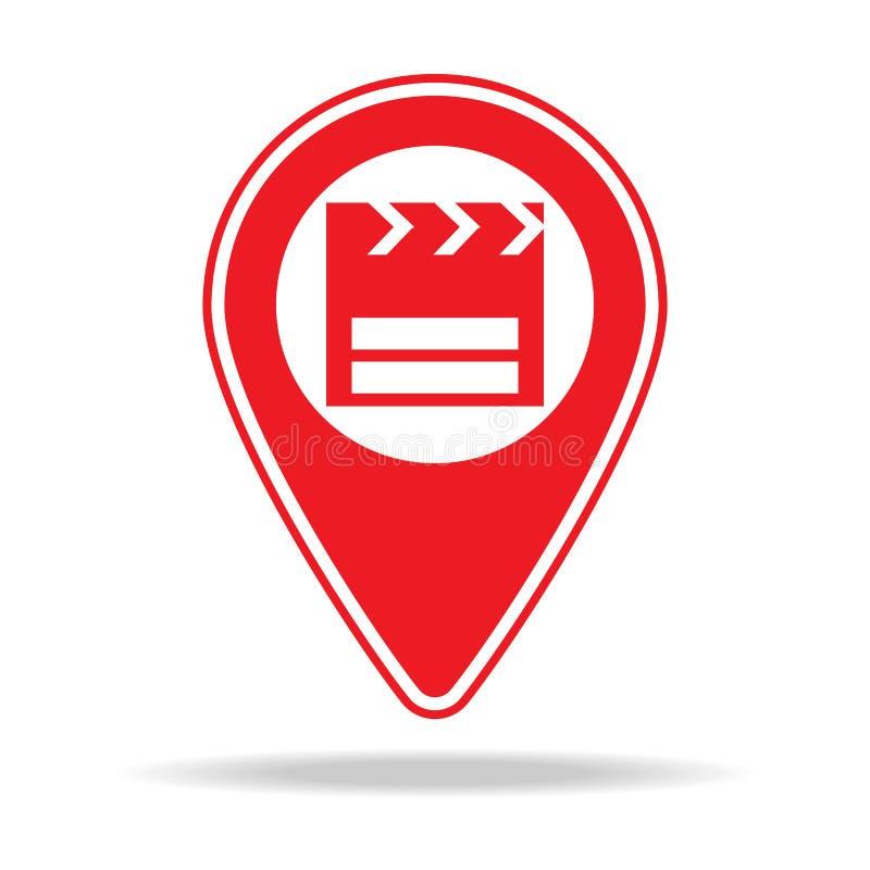 ícone do pino do mapa do cinema Elemento de ícone de advertência do pino da navegação para apps móveis do conceito e da Web Pino  ilustração do vetor