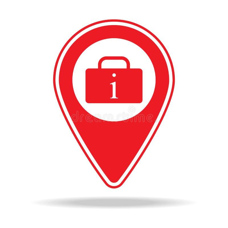 ícone do pino do mapa da agência de viagens Elemento de ícone de advertência do pino da navegação para apps móveis do conceito e  ilustração royalty free