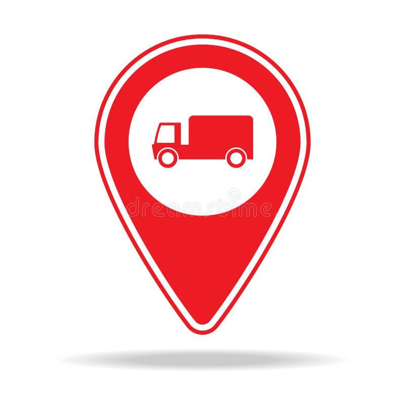 ícone do pino do mapa da empresa de mudanças Elemento de ícone de advertência do pino da navegação para apps móveis do conceito e ilustração stock