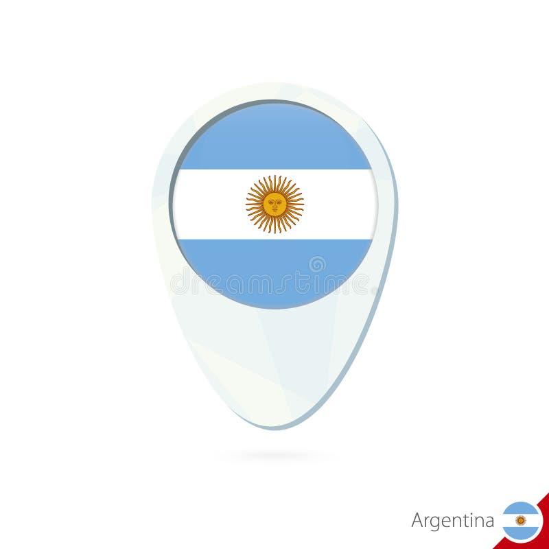 Ícone do pino do mapa de lugar da bandeira de Argentina no fundo branco ilustração royalty free