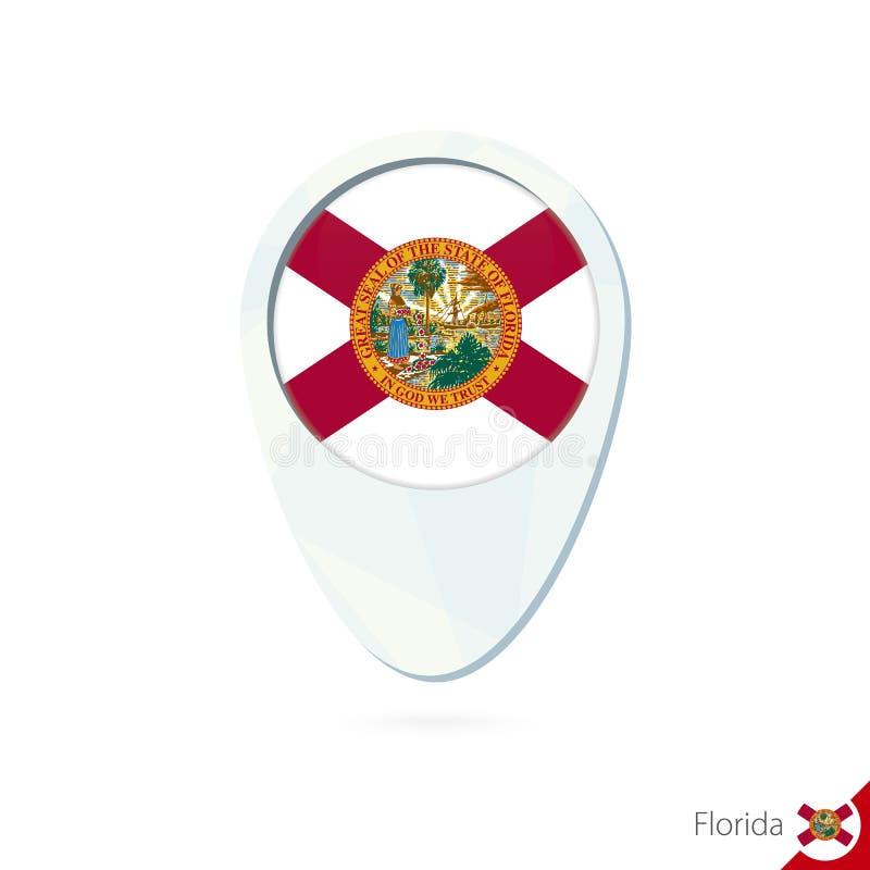 Ícone do pino do mapa de lugar da bandeira de Florida do estado dos EUA no fundo branco ilustração stock