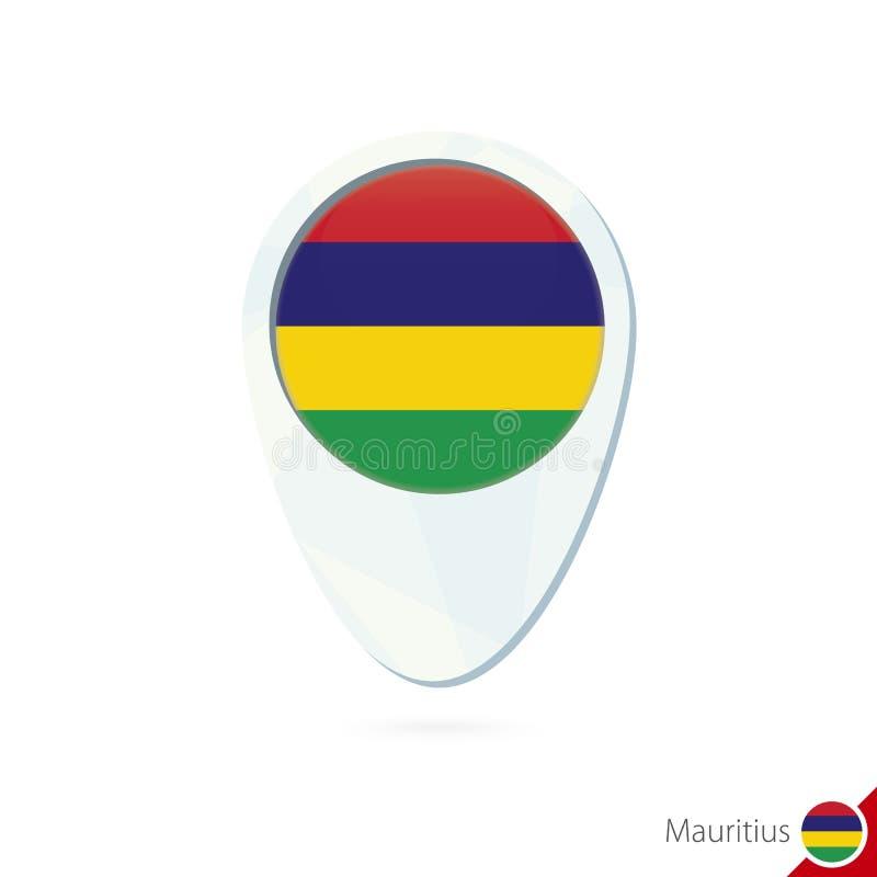 Ícone do pino do mapa de lugar da bandeira de Maurícias no fundo branco ilustração royalty free