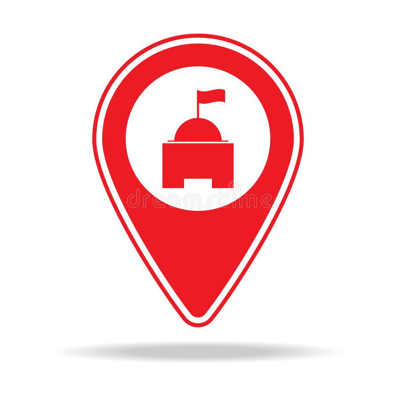 ícone do pino do mapa do governo local Elemento de ícone de advertência do pino da navegação para apps móveis do conceito e da We ilustração royalty free