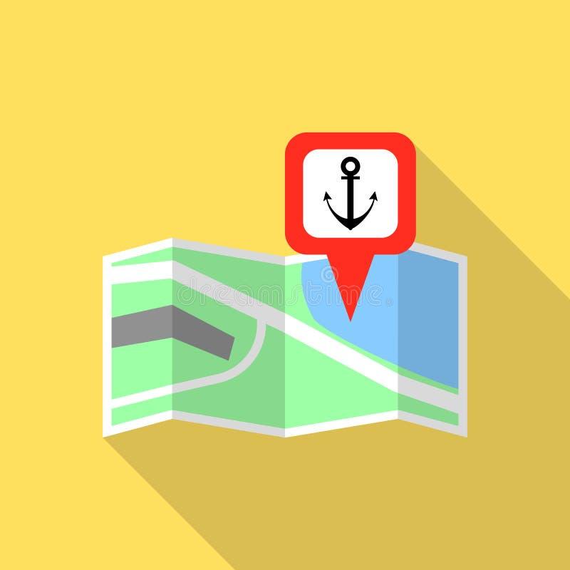 Ícone do pino do mapa do porto marítimo, estilo liso ilustração stock