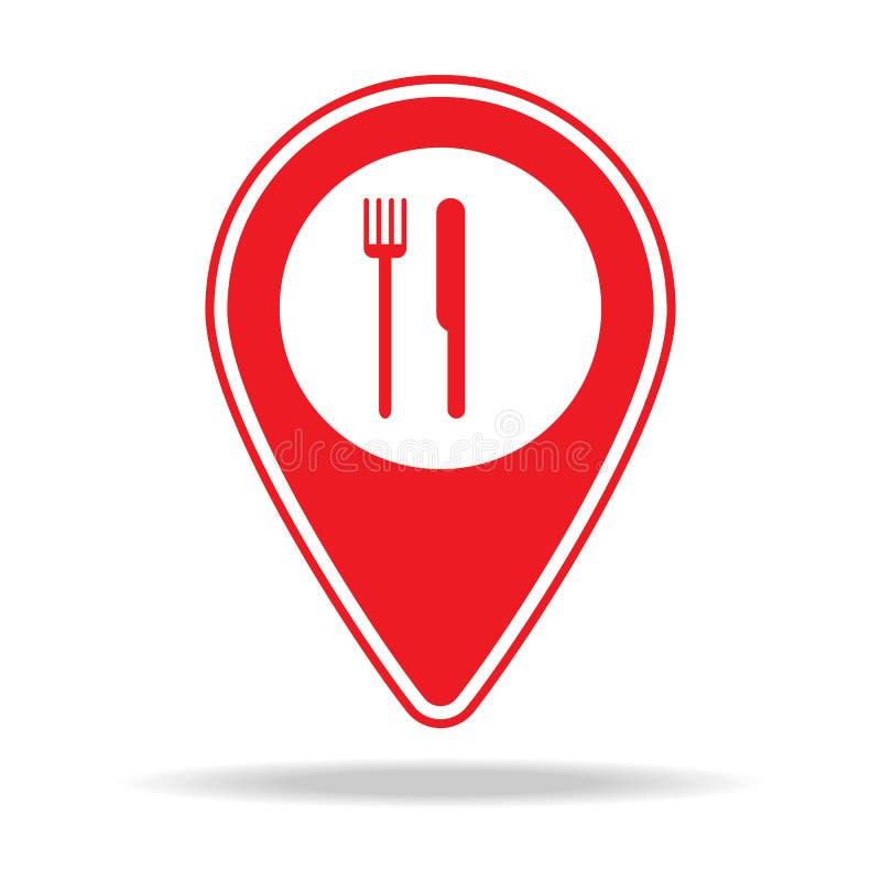 ícone do pino do mapa do restaurante Elemento de ícone de advertência do pino da navegação para apps móveis do conceito e da Web  ilustração do vetor