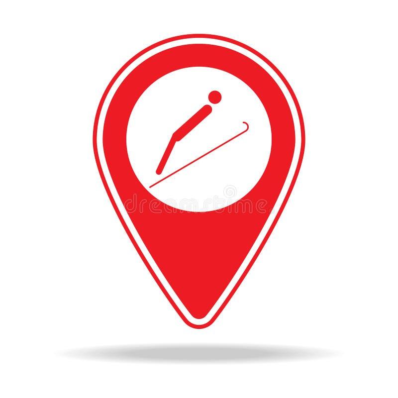 ícone do pino do mapa do salto de esqui Elemento de ícone de advertência do pino da navegação para apps móveis do conceito e da W ilustração stock