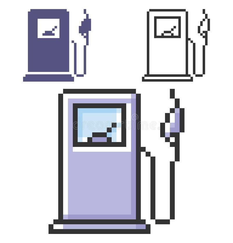 Ícone do pixel da estação do combustível em três variações ilustração royalty free