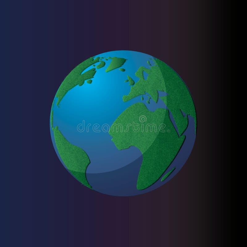 Ícone do planeta do vetor Fundo da ilustração da Web Globo isolado da terra Projeto do mapa do mundo Símbolo global do planeta da ilustração do vetor