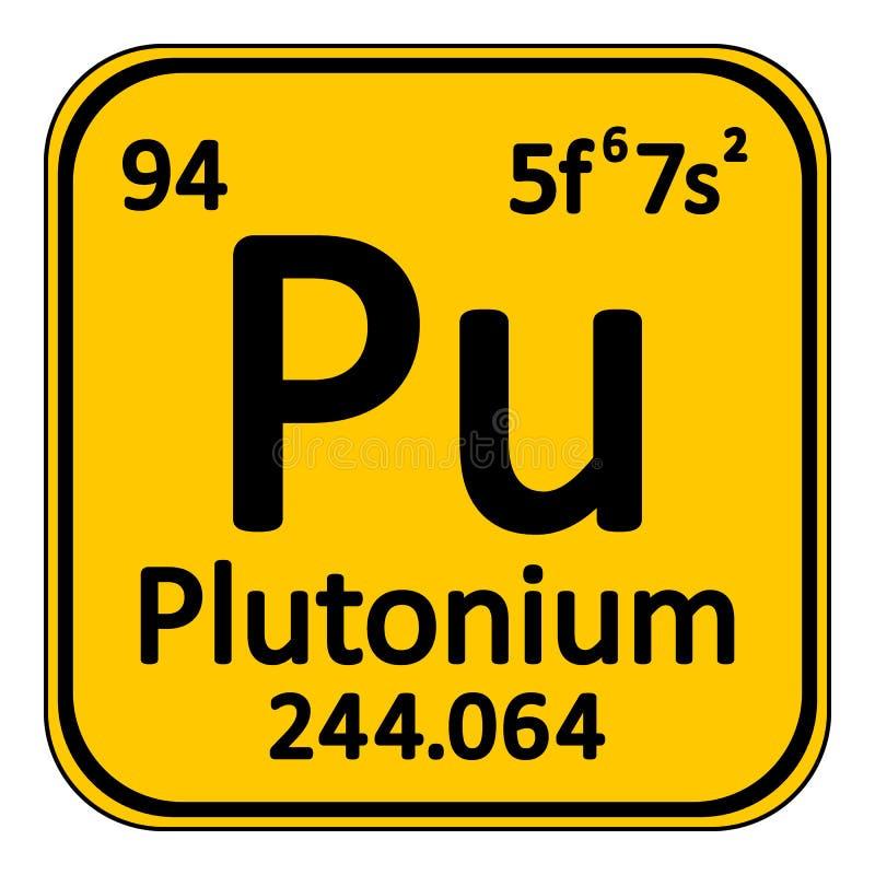 Ícone do plutônio do elemento de tabela periódica ilustração stock