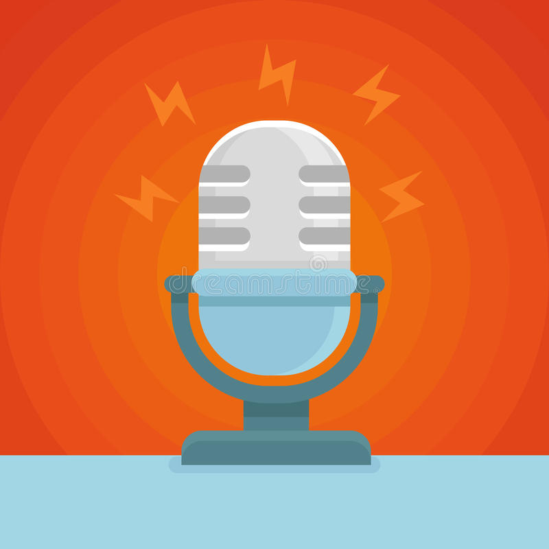 Ícone do podcast do vetor no ícone liso ilustração do vetor