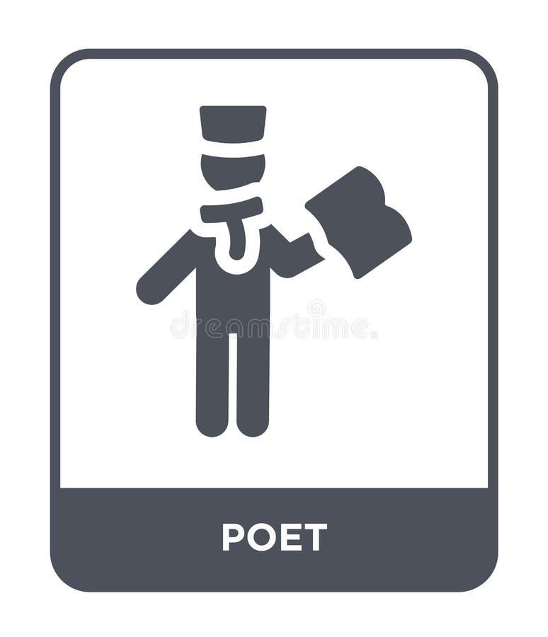 ícone do poeta no estilo na moda do projeto ícone do poeta isolado no fundo branco símbolo liso simples e moderno do ícone do vet ilustração stock
