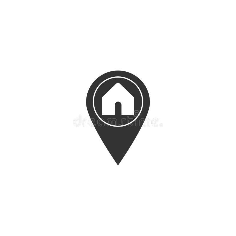 Ícone do ponteiro do mapa da casa no projeto simples Ilustração do vetor ilustração royalty free
