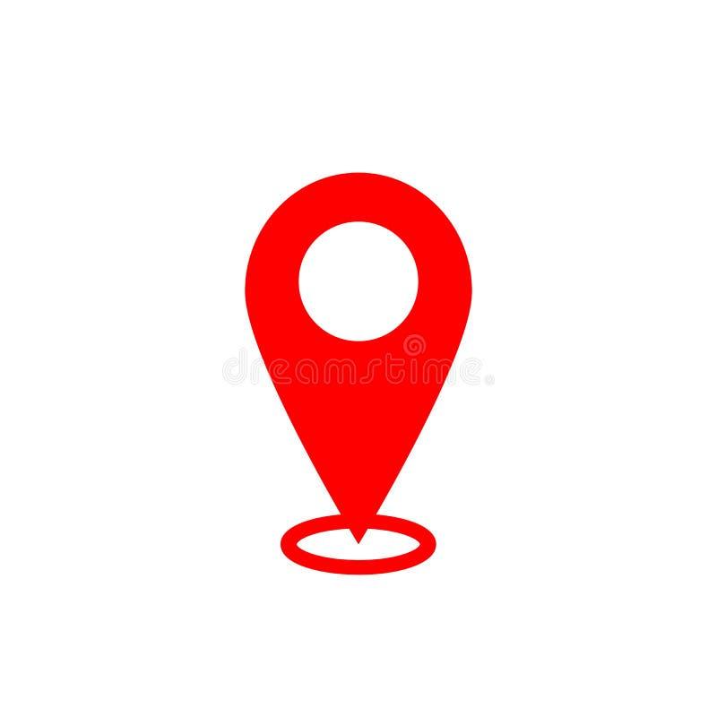Ícone do ponteiro do mapa Símbolo de lugar de GPS Projeto liso Vermelho no fundo branco Ilustração de Vektor ilustração do vetor