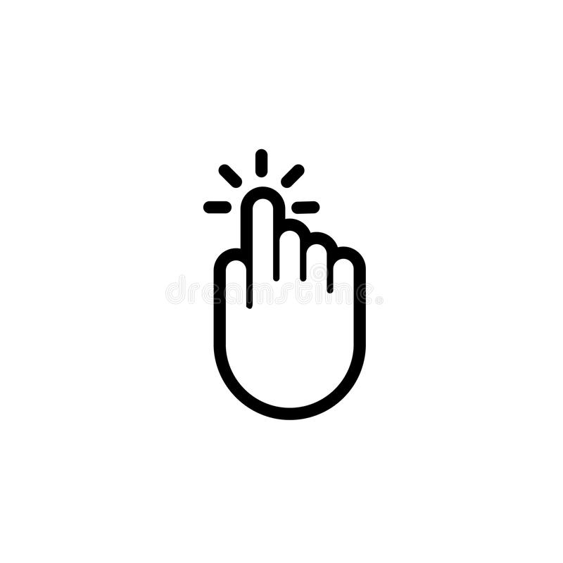 Ícone do ponteiro do vetor do impulso da imprensa da mão do dedo do clique ilustração do vetor