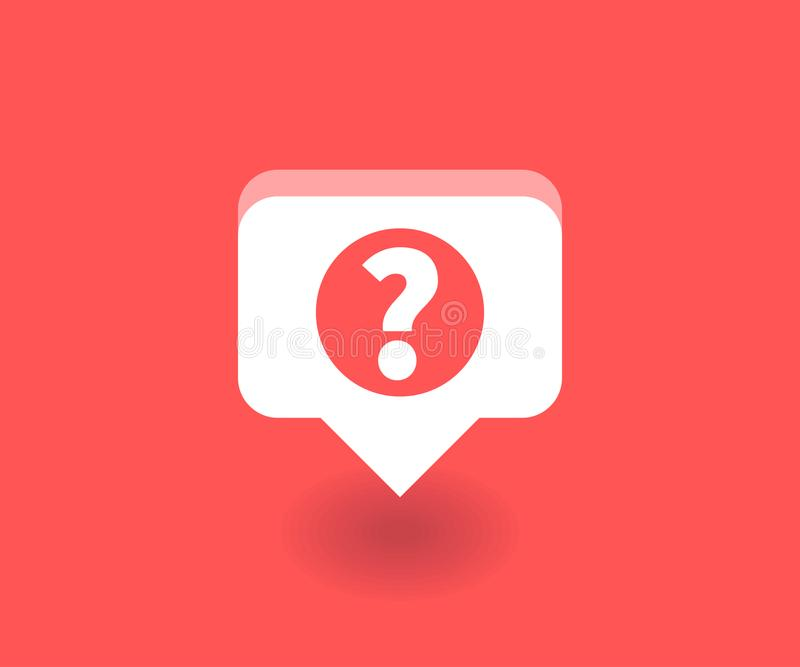 Ícone do ponto de interrogação, símbolo do vetor no estilo liso isolado no fundo vermelho Ilustração social dos meios ilustração stock