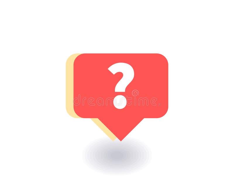 Ícone do ponto de interrogação, símbolo do vetor no estilo liso isolado no fundo vermelho Ilustração social dos meios ilustração do vetor