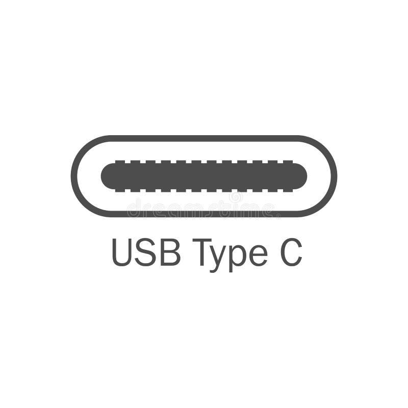 Ícone do porta usb Tipo C de USB Ilustração do vetor, projeto liso ilustração royalty free