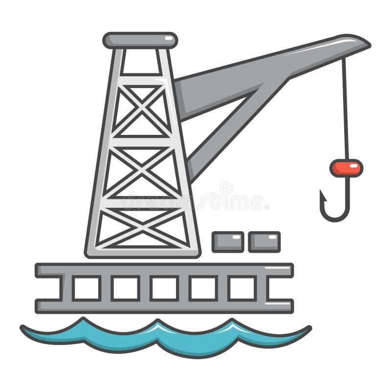 Ícone do porto do guindaste, estilo dos desenhos animados ilustração royalty free