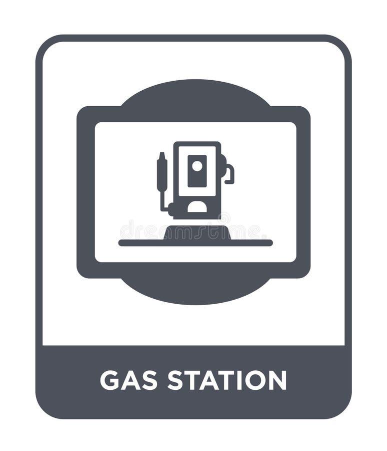ícone do posto de gasolina no estilo na moda do projeto Ícone do posto de gasolina isolado no fundo branco ícone do vetor do post ilustração do vetor