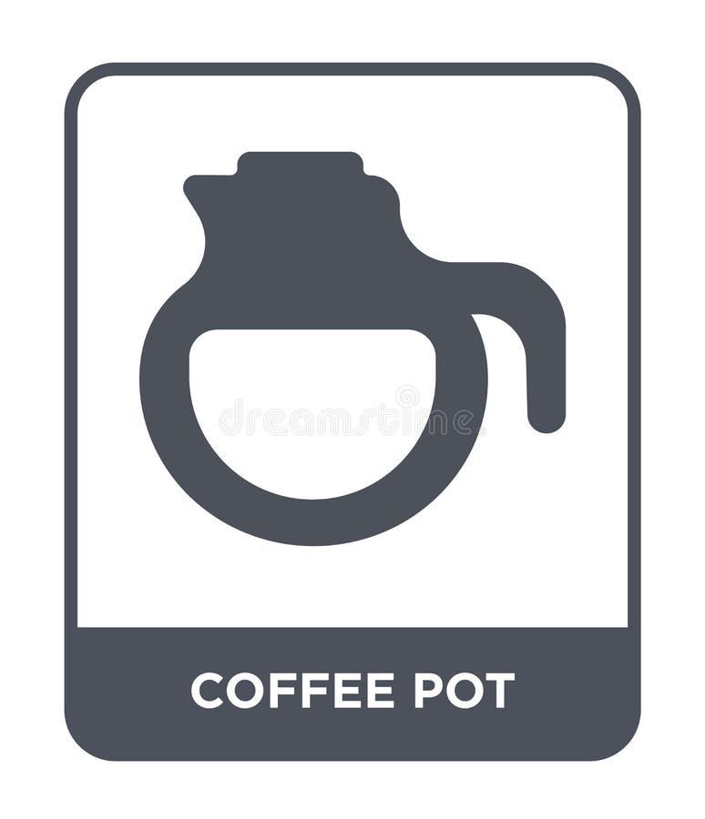 ícone do potenciômetro do café no estilo na moda do projeto Ícone do potenciômetro do café isolado no fundo branco ícone do vetor ilustração royalty free