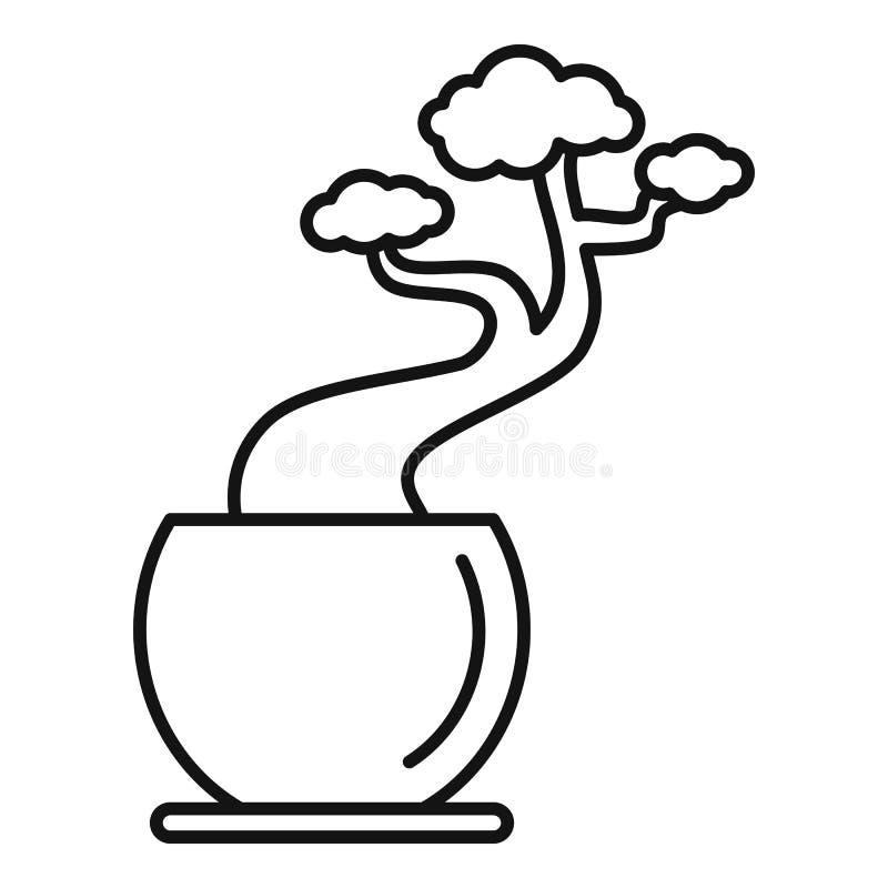Ícone do potenciômetro da árvore da casa, estilo do esboço ilustração stock