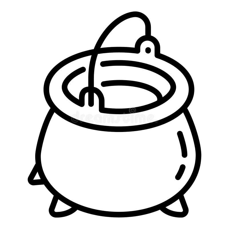 Ícone do potenciômetro do ferro fundido, estilo do esboço ilustração stock