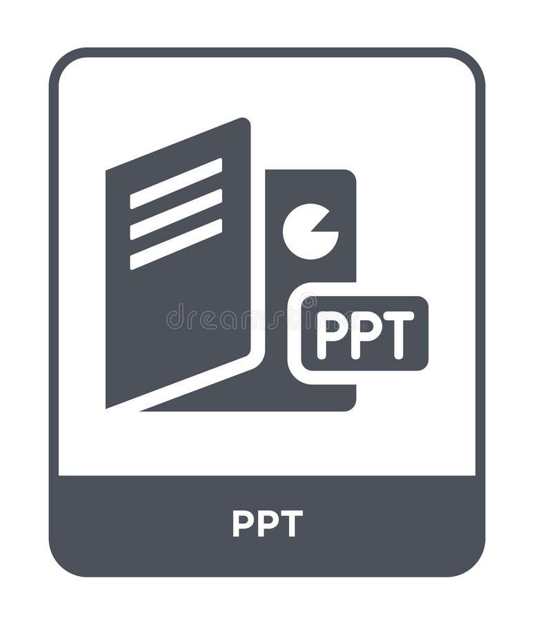 ícone do ppt no estilo na moda do projeto ícone do ppt isolado no fundo branco símbolo liso simples e moderno do ícone do vetor d ilustração stock