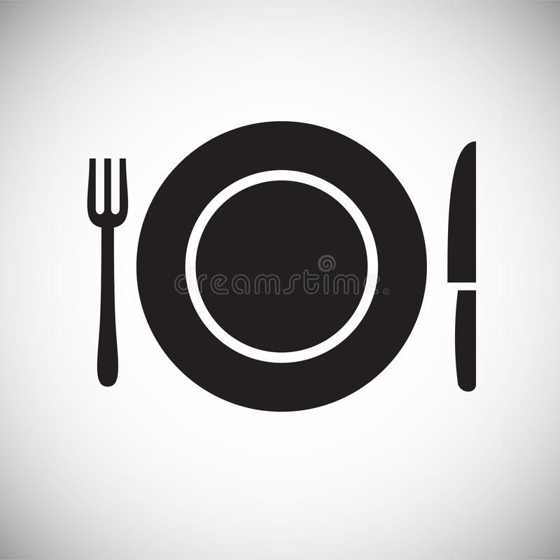 Ícone do prato no fundo branco para o gráfico e o design web, sinal simples moderno do vetor Conceito do Internet Símbolo na moda ilustração stock