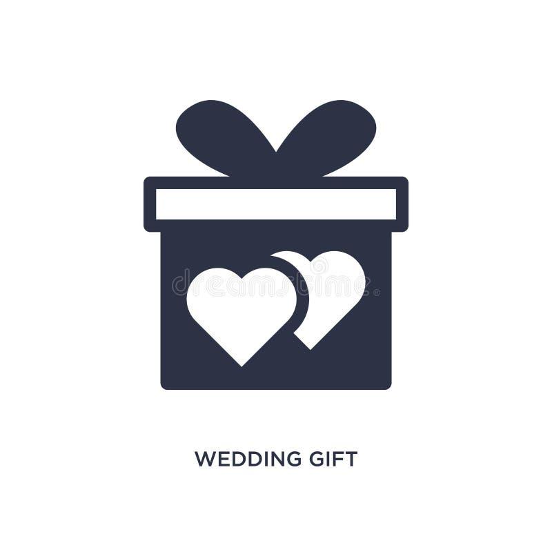 ícone do presente de casamento no fundo branco Ilustração simples do elemento do conceito da festa de anos e do casamento ilustração stock